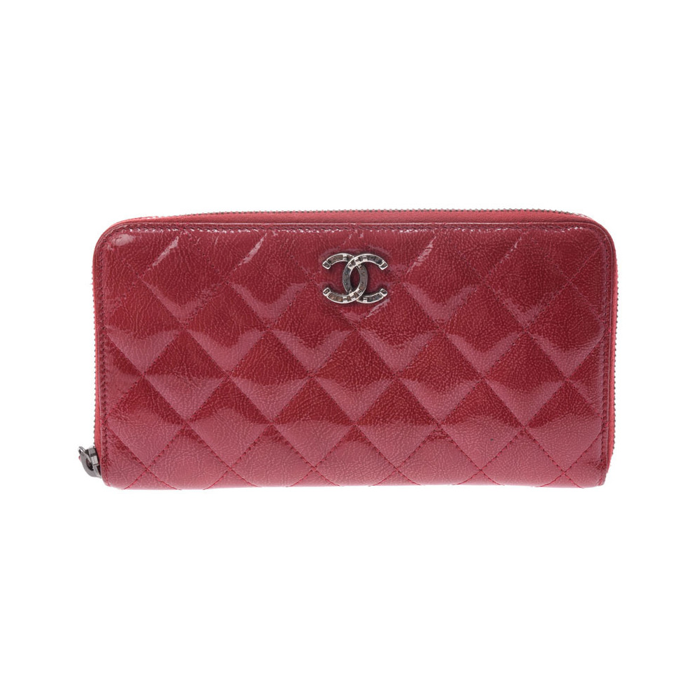 Chanel Matrasse Paris Dallas round zipper long wallet red SV bracket Women's enamel AB rank CHANEL box Galla Used Ginzo