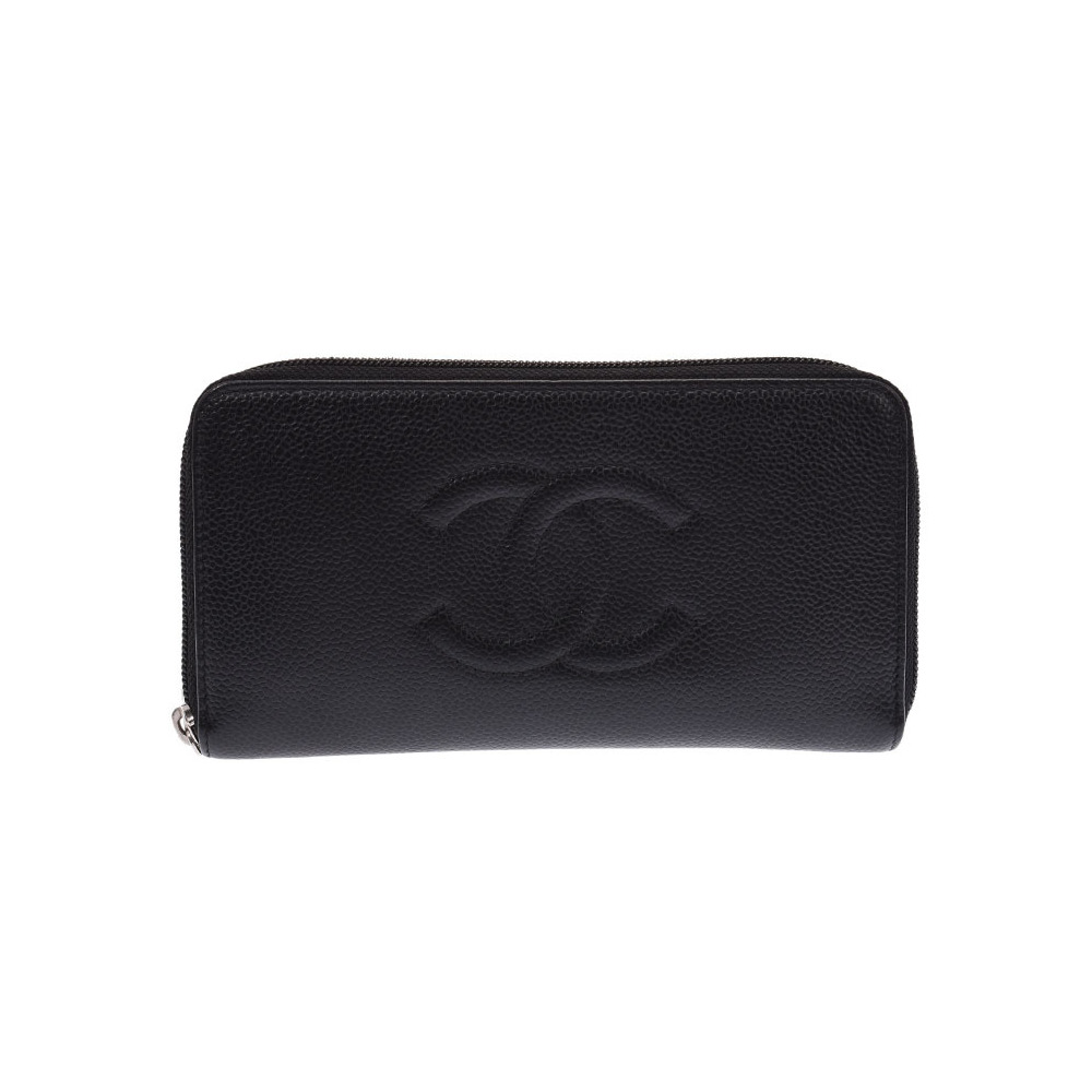 CHANEL Round zipper long wallet Black SV bracket Women's caviar skin AB rank box Used Ginzo