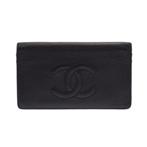 Chanel chain wallet black SV metal fittings calf B rank CHANEL used Ginzo
