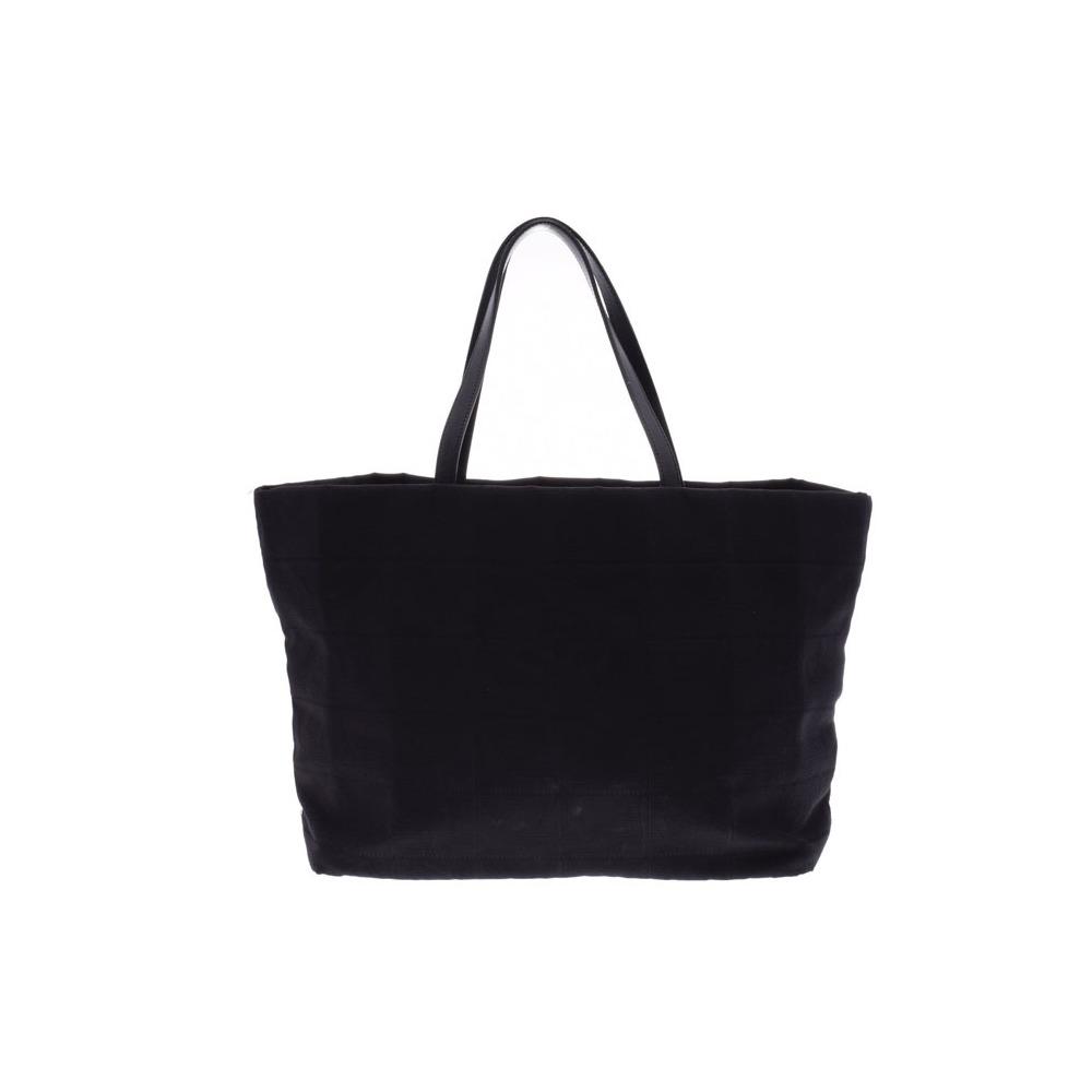 Chanel New Travel Line Tote Bag Black Ladies Mens Nylon B Rank CHANEL Used Ginzo