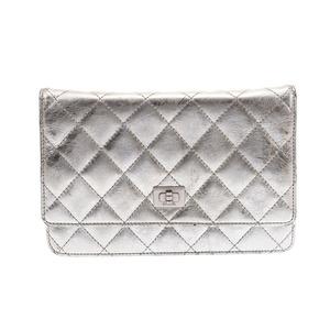Chanel 2.55 Chain wallet Silver SV bracket Women's calf B rank CHANEL Used Ginzo