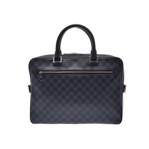 ルイ・ヴィトン(Louis Vuitton) ルイヴィトン ダミエコバルト ポルトドキュマンビジネス 青系 N41347 メンズ 本革 ビジネスバッグ Aランク 美品 LOUIS VUITTON ストラップ付 中古 銀蔵