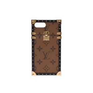 Louis Vuitton Monogram Reverse Eye Trunk iPhone 7 + Brown / Black M64483 Men's Genuine Leather Case B Rank LOUIS VUITTON Used Ginzo