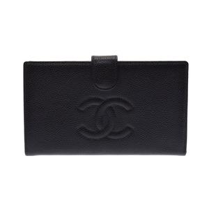 シャネル(Chanel) シャネル がま口財布 黒 レディース キャビアスキン 財布 ABランク CHANEL 箱 ギャラ 中古 銀蔵