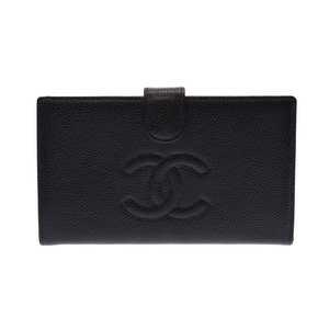 Chanel Garnet Wallet Black Ladies Caviar Skin AB Rank CHANEL Box Galla Used Ginzo