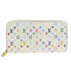Genuine LOUIS VUITTON Louis Vuitton Monogram Multi Zippy Wallet Round Purse White Model: M60241 Leather