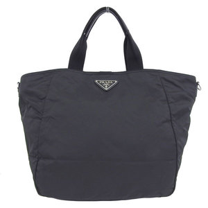Genuine PRADA Prada nylon 2WAY tote bag shoulder black BR4051 leather