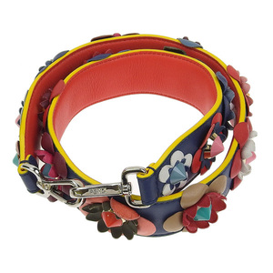 Genuine FENDI Fendi Strap You Flower Blue Red Yellow F03F6