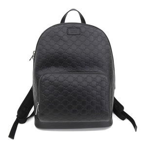 Genuine GUCCI Gucci GG Signature Backpack Black Model: 406370 Bag Leather