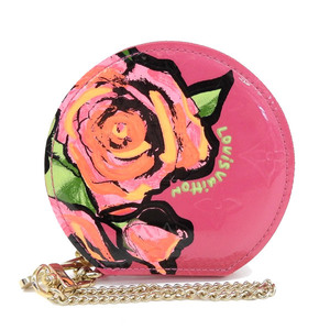 Genuine LOUIS VUITTON Louis Vuitton Vernis Rose Portonese Pau Coin Case Pink