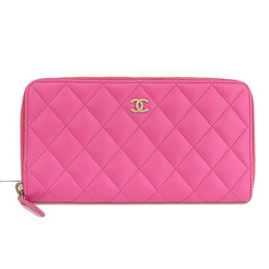 Genuine CHANEL Chanel Lambskin Round zipper Long wallet Pink 21-band leather