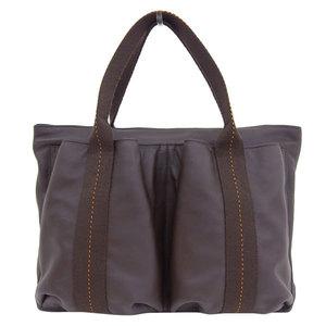 Genuine HERMES Hermes Caravan Horizont 2WAY handbag Shoulder dark brown bag