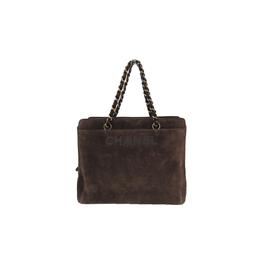2f02b2bbe7b9 Authentic CHANEL Chanel suede chain handbag dark brown 5 stand bag leather