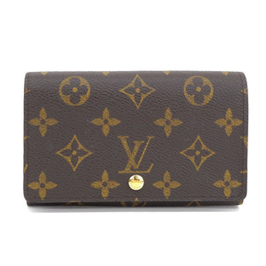 Genuine LOUIS VUITTON Louis Vuitton Monogram L-zip fastener clamshell wallet leather