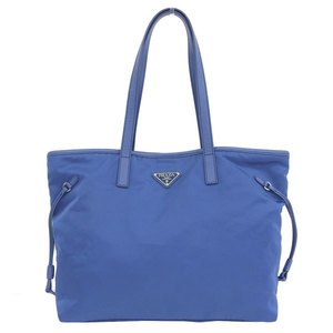 Genuine PRADA Prada nylon 2WAY tote bag shoulder blue model number: B4001T leather