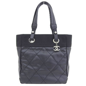 Genuine CHANEL Chanel Paris Biarritz PM Tote Bag Black Silver hardware 11 stand leather
