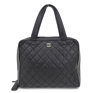 Genuine CHANEL Chanel caviar skin tote bag black 6 stand leather