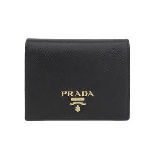 Genuine PRADA Prada Safiano Two-folded wallet Black Leather