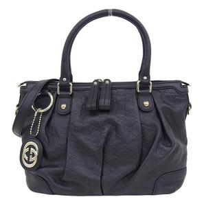 Genuine GUCCI Gucci Guccisima Sukey 2WAY Shoulder Bag Black 247902 Leather