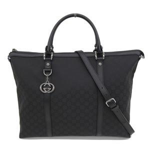 Genuine GUCCI Gucci GG Nylon 2WAY Bag Tote Black Model: 339 550 Leather
