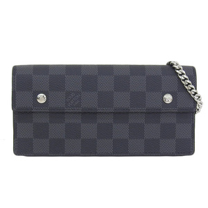 Genuine LOUIS VUITTON Louis Vuitton Damier Grafitte Acordion Purse Chain Wallet N60023 Leather
