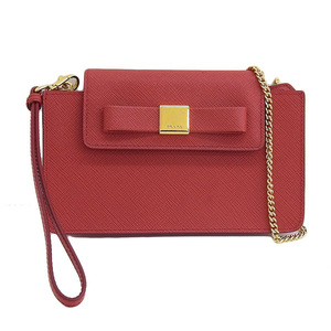 2715bdf26138 Genuine PRADA Prada Safiano Smartphone Case Chain Shoulder Bag Rosso Red  Model: 1 ZH 034