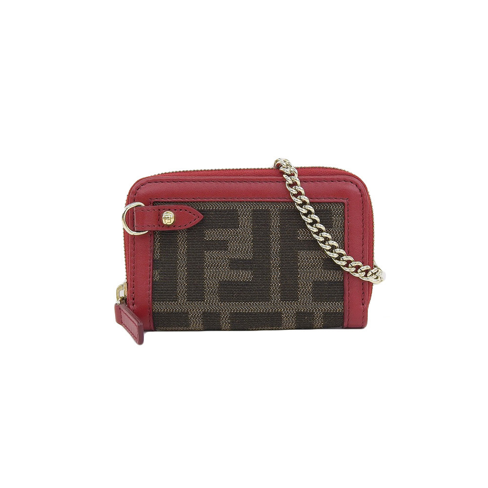 Genuine FENDI Fendi Zucca Chain Coin Case Brown Red