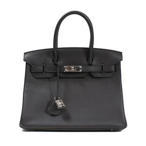HERMES Birkin 30 Trillon Clemence □ R 刻 Pru Noir Silver clasp handbag
