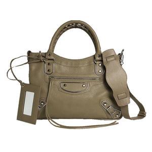 Balenciaga BALENCIAGA Classic Metallic Edge City 390149 Beige Goatskin 2WAY Handbag Shoulder Bag Women