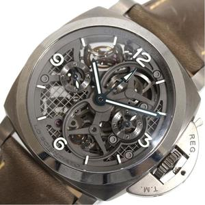 Panerai PANERAI Ro Schenziart Luminor 1950 Tourbillon GMT Titanio PAM00578 150 limited hand-rolled skeleton mens watches