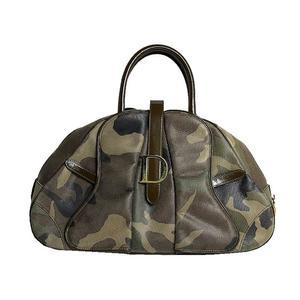 Christian Dior Handbag Coated Canvas Leather Khaki Camouflage Women