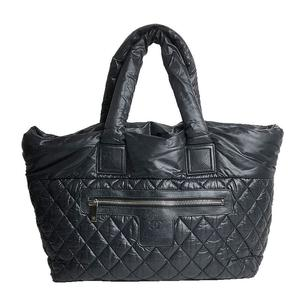 Chanel CHANEL Coco Cocoon MM A48611 Nylon Leather Black Tote Bag Women