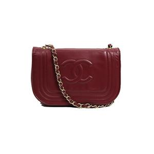 CHANEL CHACOKO mark chain shoulder lambskin red women