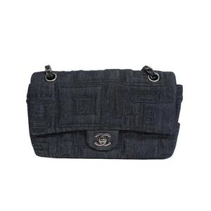 Chanel Embroidered Chain Denim Canvas Blue Shoulder Bag