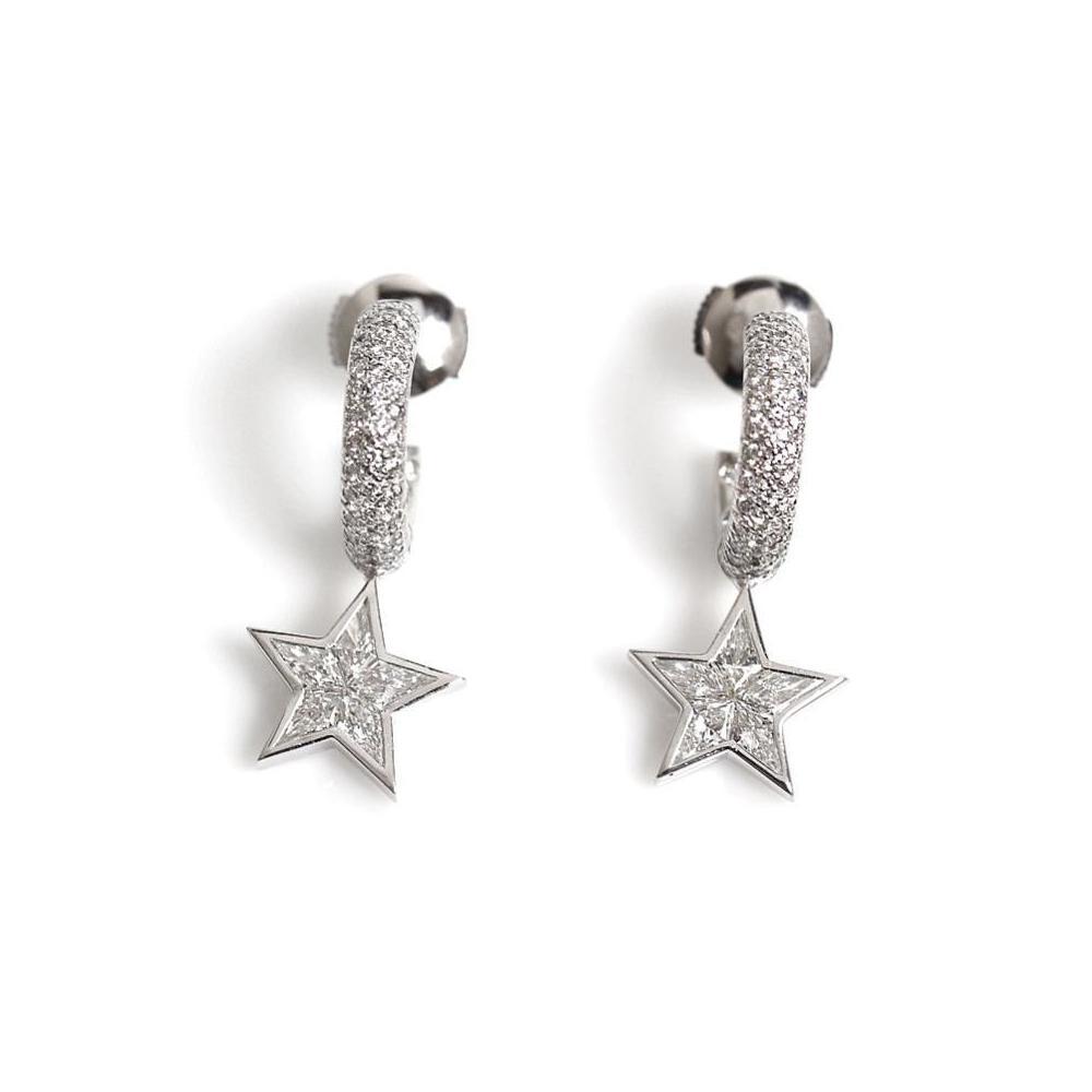 Chanel CHANEL Comet Earrings K18WG Diamond Ladies Jewelry Finished