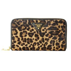 Prada PRADA Harako round zipper long wallet 1M0506 Leopard Women