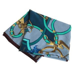 HERMES shawl cashmere 65% silk 35% blue multicolor women