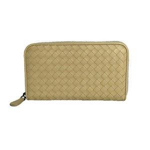 Bottega Veneta BOTTEGA VENETA Intorechato round zipper long wallet 114076 Beige Men Women