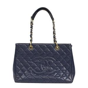 Chanel CHANEL Matrasse chain tote bag A50995 caviar skin navy ladies