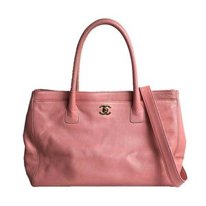 CHANEL Executive Tote Bag A15206 Caviar Skin Pink Gold Hardware Shoulder Women
