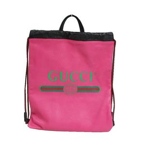 Gucci GUCCI Drawstring Backpack 516639 Leather Pink
