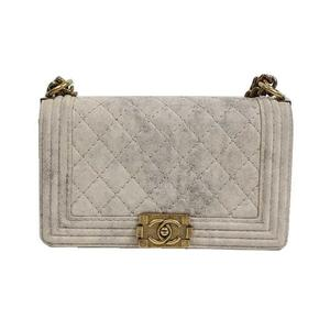 Chanel CHANEL Boy Matras Shoulder Bag A66281 Suede Beige