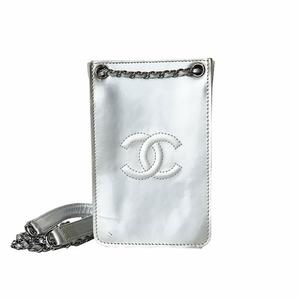 Chanel CHANEL Coco Mark Phone Holder A 92 304 Silver Women