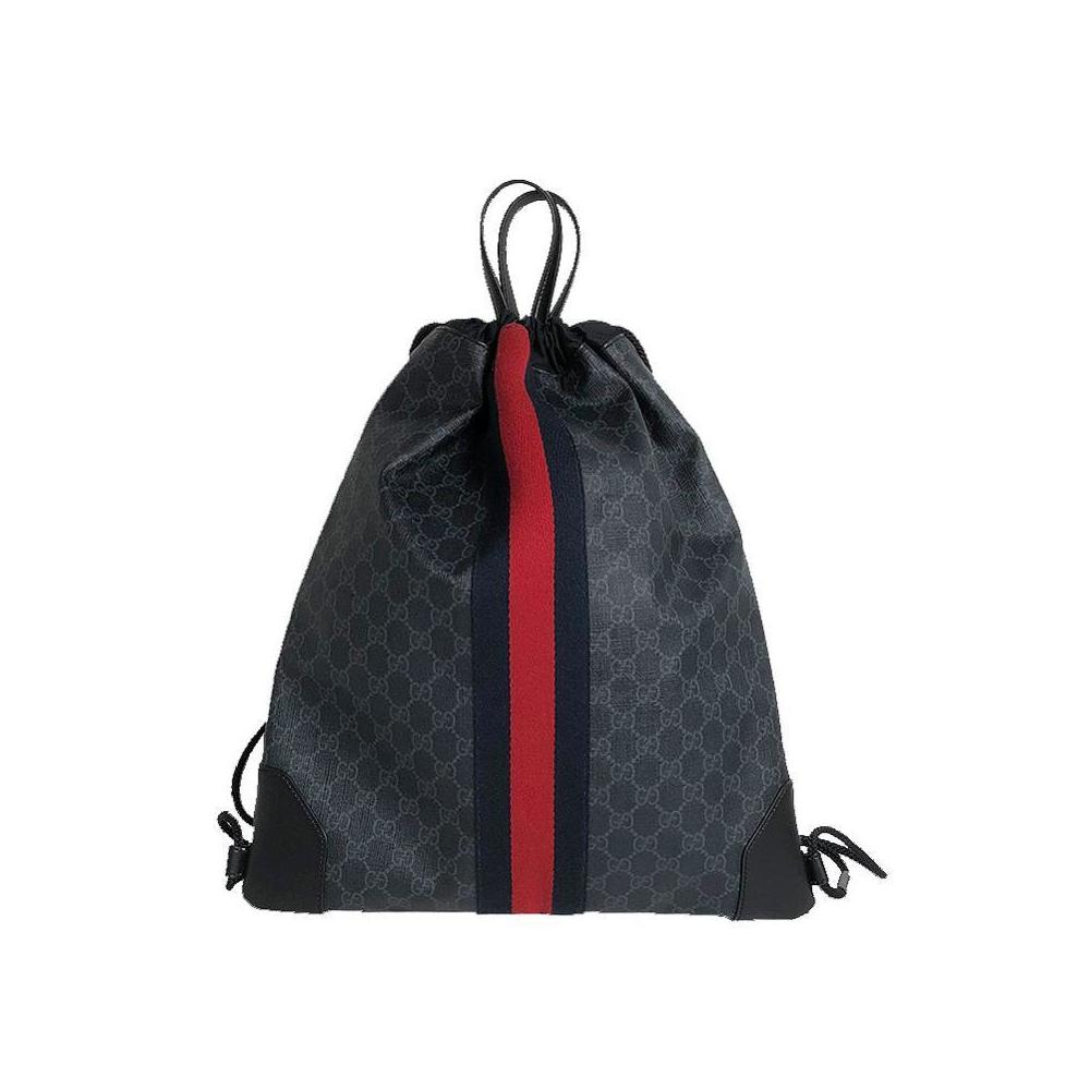 6782bbc2440 Gucci GUCCI GG Supreme Drawstring Backpack 473872 Black Men