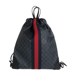 Gucci GUCCI GG Supreme Drawstring Backpack 473872 Black Men