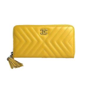 Chanel CHANEL fringe round zipper long wallet A84442 calfskin yellow silver hardware Women
