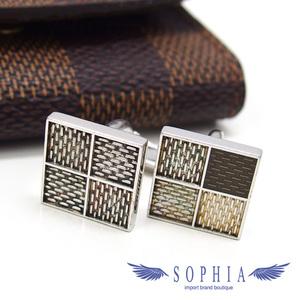 Louis Vuitton Damier Pattern Cufflinks Silver 20190329