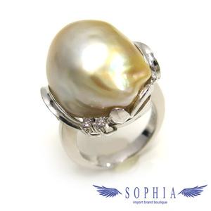 Diamond baroque pearl ring 0.07ct 9.5 No. 20190329