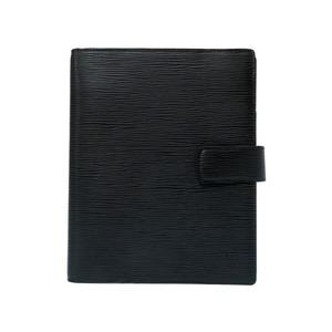 Louis Vuitton Epi Agenda GM notebook cover R20212 Noir Black Silver hardware 0218 LOUIS VUITTON