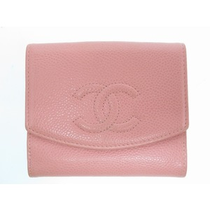 CHANEL Caviar Skin W Hook Cocomark Two-folded Wallet Pink 0099 Ladies